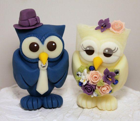 Owl wedding cake topper BIGGER love birds more by PerlillaPets