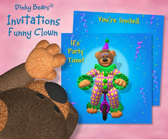 Dinky Bears - Clown on Unicycle Invitations - Digital Download