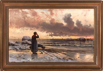 FRITHJOF SMITH-HALD KRISTIANSAND 1846 - CHICAGO 1903  Fisher Wife on the beach  Oil on canvas, 48x76 cm  Signed and positional bottom left: Smith Hald Cornwall