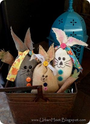 Urban Hoot: Hop a Lot! -- burlap bunny bags