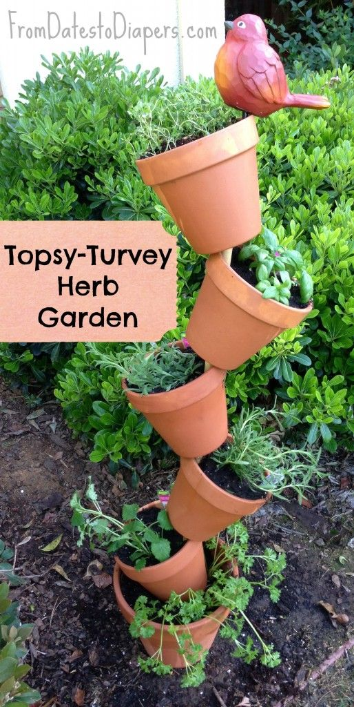 FromDatestoDiapers.com : How to make a Topsy-Turvey Herb Garden