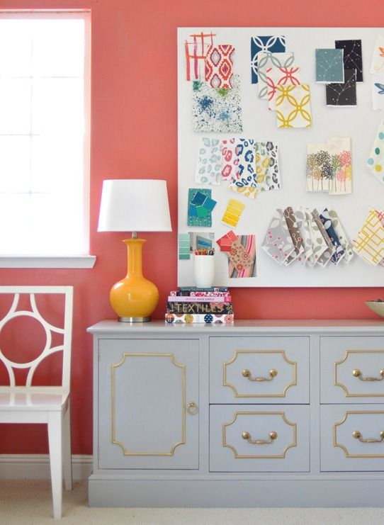 Tips for painting/detailing furniture.   gray credenza makeover, coral wall