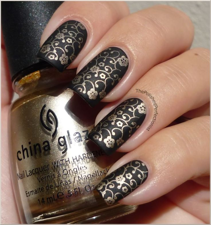 The 25 best black gold nails ideas on pinterest chic nails the polished perfectionist black gold there are many ways to spice up black nails prinsesfo Images
