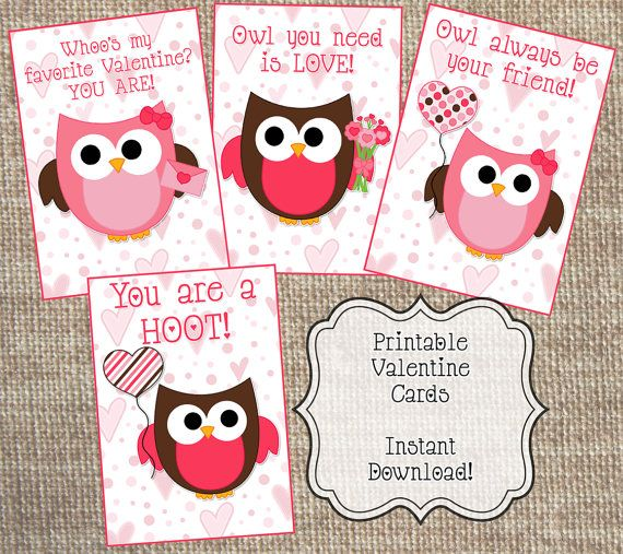 Instant Download Printable Valentines Day Cards Owl