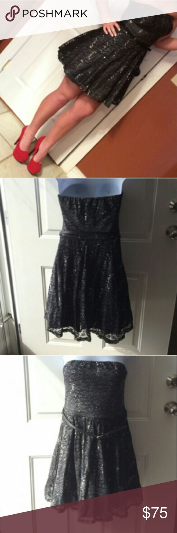 Short Black Formal Dress LBD Sequins Sparkle Prom Very cute short, black sequin formal dress. Size medium, comes with a belt. Worn once to Winter Formal dance.   Smoke free home. I will gladly bundle items to give you a discount (the more you buy, the cheaper I can let everything go!). Many items can be added on for only $1.  MAKE AN OFFER! love reign Dresses Prom