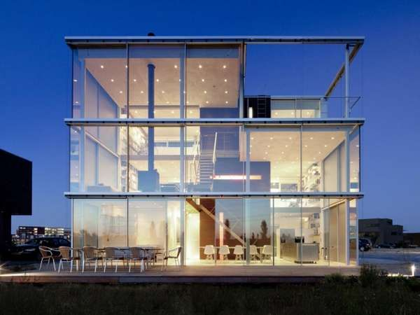 Glass Box Abodes,  Created By Hans Van Heeswijk, Rieteiland House Is The Dutch Architects Design For His Dream Home. Cubic And Linear, This Glass-adorned Abode Leaves Little To The Imagination Due To Its Open Concept Interior That Is Bathed With Natural Light.