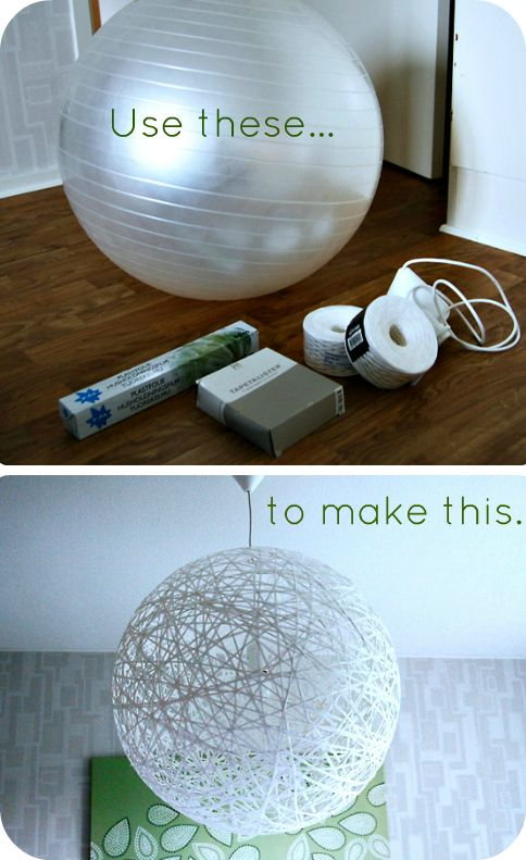 Cool DIY ball string light - paint like a globe or another planet - would be fun in a sci bedroom or class room