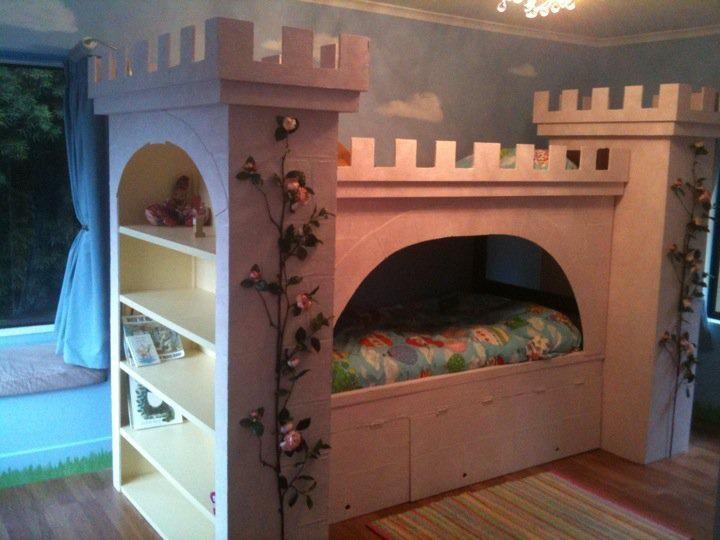 Princess castle bunk bed home nursery pinterest for Fairytale beds