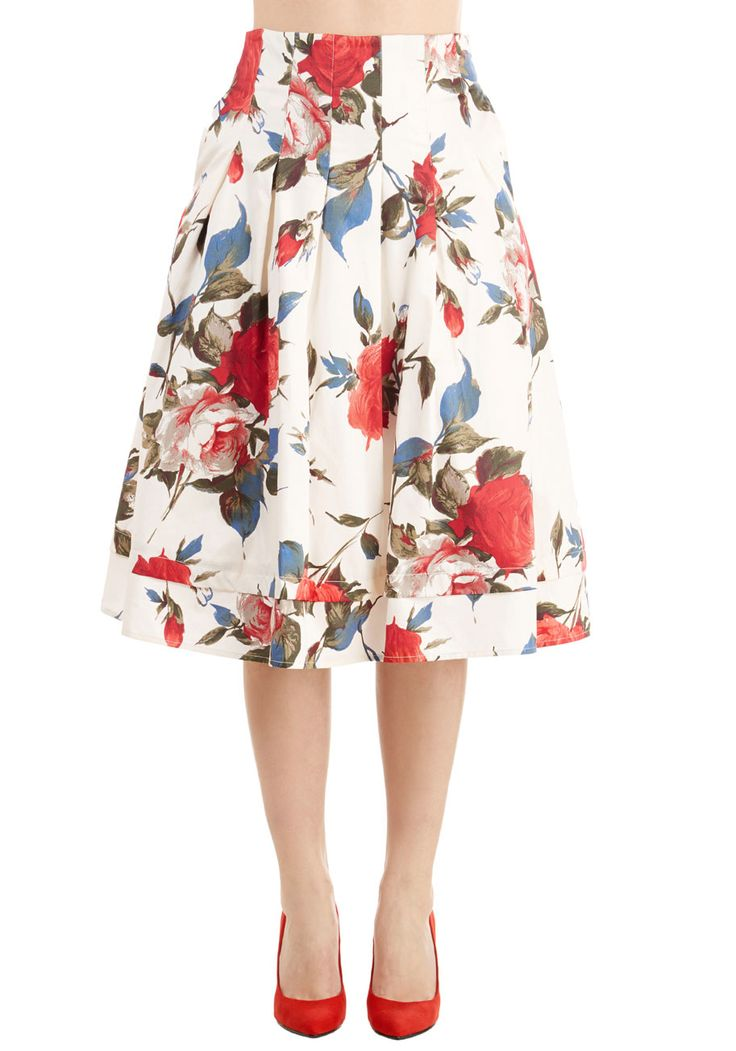 Greenhouse Grandeur Skirt. Your green thumb has been known to influence your prettiest outfits, and this white midi skirt fittingly strikes your fancy. #white #modcloth