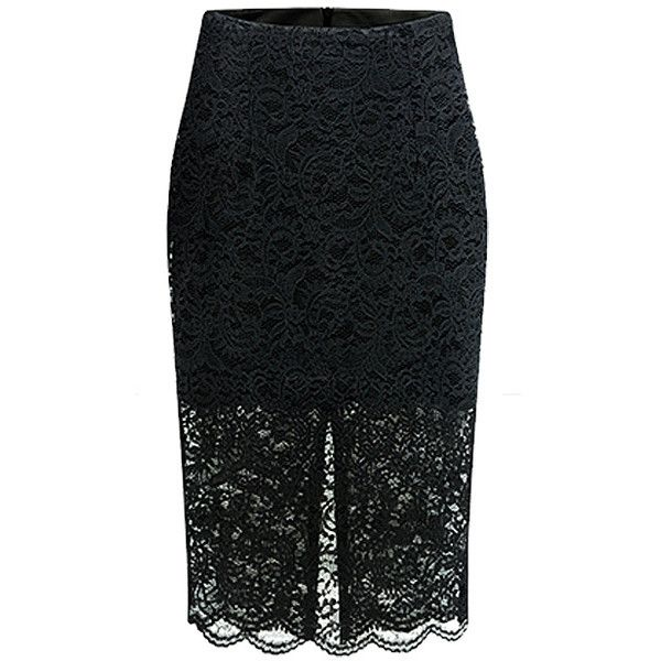 Scallop Lace Pencil Skirt With Split Detail ($21) ❤ liked on Polyvore featuring skirts, stylemoi, style moi, black, black skirt, fitted pencil skirt, pencil skirt, knee length pencil skirt and scalloped lace skirt