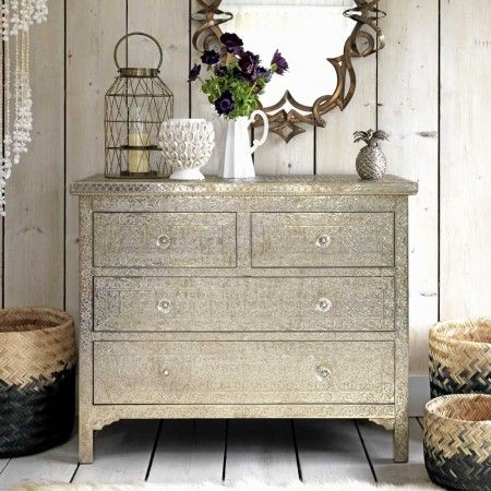 Embossed White Metal Chest of Drawers - View All Bedroom - Bedroom - Kitchen, Bed & Bath