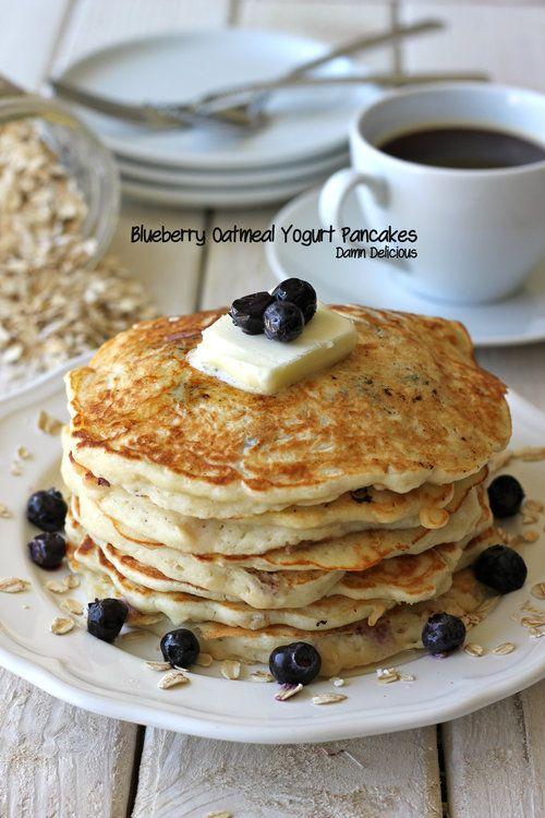 Damn Delicious, Blueberry Oatmeal Yogurt Pancakes