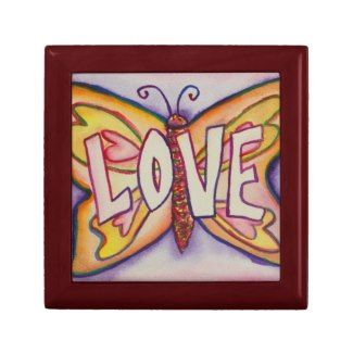 Love Word Pink Butterfly Tile Jewelry Gift Box