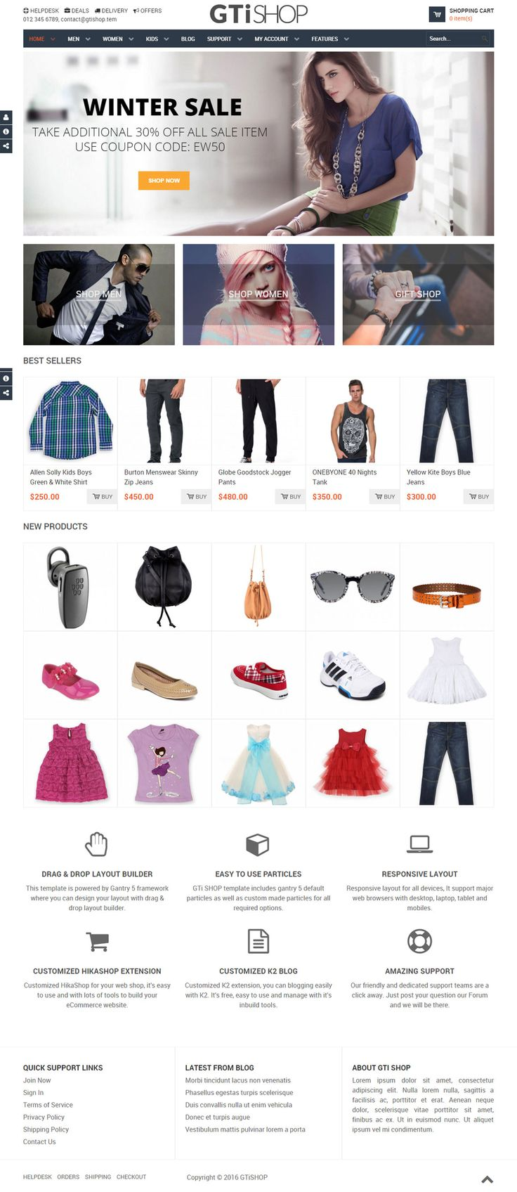 GTi SHOP- Joomla, K2 and HikaShop Template -- GTI SHOP is a responsive Joomla! Template with highly cusmization HikaShop and K2 styles. Using GTI SHOP and Gantry 5 drag and drop layout builder you can create powerful ecommerce websites easily. Joomla 2.5 - 3.x