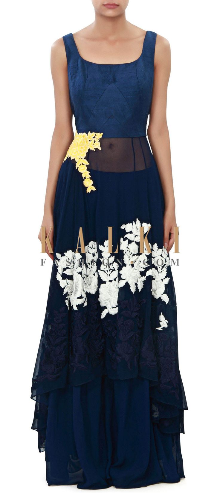 Buy Online from the link below. We ship worldwide (Free Shipping over US$100) Price- $399 Click Anywhere to Tag http://www.kalkifashion.com/navy-blue-anarkali-suit-enhanced-in-resham-and-zari-embroidery-only-on-kalki.html