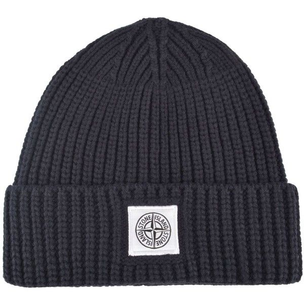STONE ISLAND Junior Boy Ribbed Beanie featuring polyvore, women's fashion, accessories, hats, cotton beanie, beanie hat, beanie cap hat, stone island beanie and beanie cap