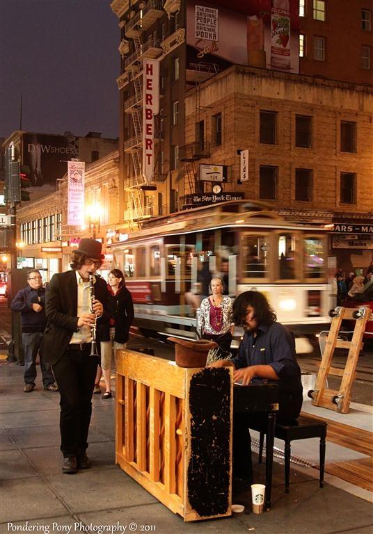 San Francisco nighttime street scene