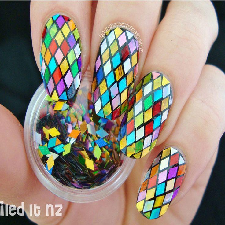 1 Pole Paznokci Brokat Multicolor 2mm Projekt Projektowanie Nail Art Glitter Porady Dekoracje Musujące Diament 8143909