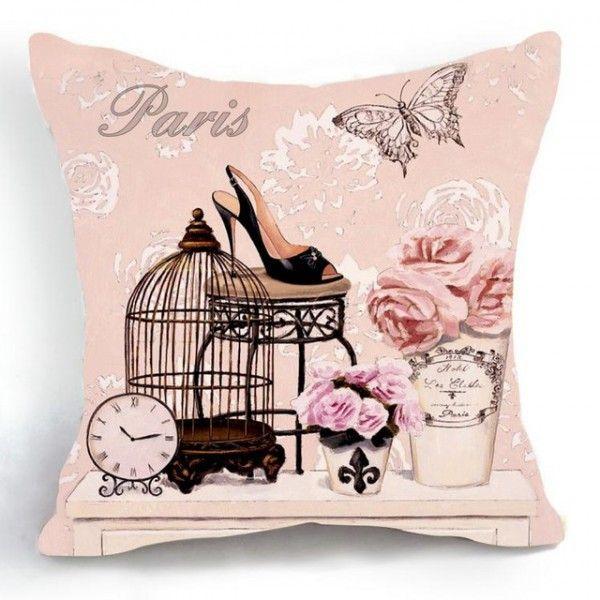 dekoračný vintage vankúš ružový 45 x 45 cm
