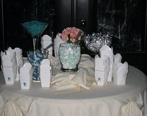 Candy buffet incorporating the teal and cream colour scheme.