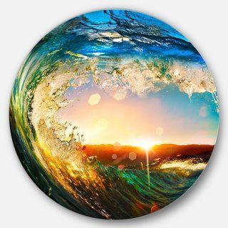Designart 'Colored Ocean Waves Falling Down' Modern Seashore Disc Metal Wall Art (11 x 11 – disc of 11 inch), Blue, DESIGN ART(Aluminum)