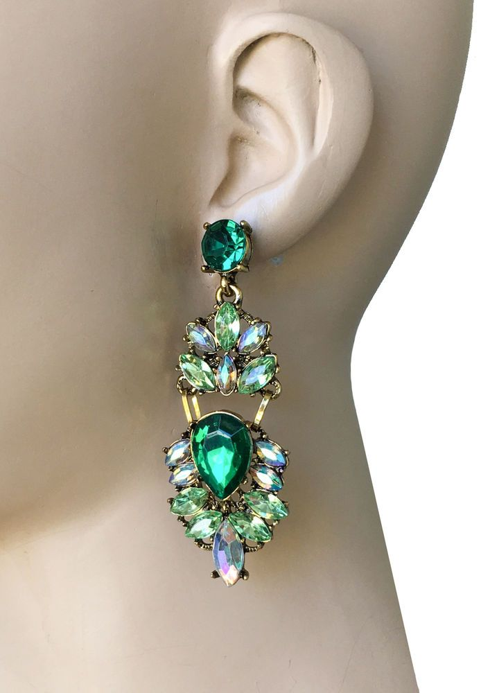 "3"" Long, Green Shades Rhinestones Earrings, Pageant, Pierced, Drag Queen  #Unbranded #DropDangle"