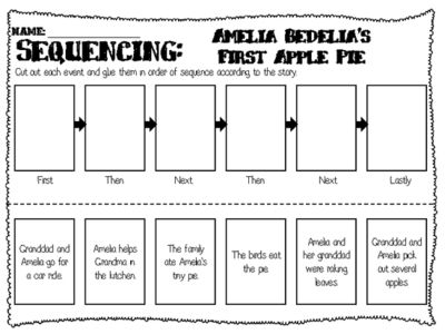 Amelia Bedelias First Apple Pie - Sequencing Worksheet from Ms Lyric on TeachersNotebook.com (1 page)