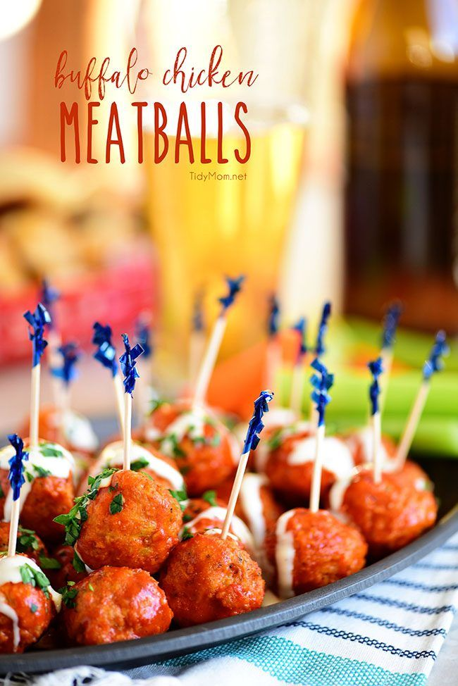 Crowd pleasing Buffalo Chicken Meatballs with ranch have all the flavors of buffalo hot wings, with out the guilt. Get the finger-lickin' good recipe at TidyMom.net