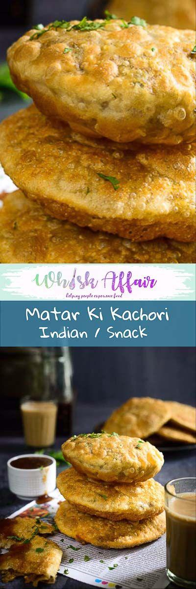 Matar Kachori are flaky crisp, deep fried pastries filled with a spicy pea filling and are best enjoyed with Khatti Meethi Imli Ki Chutney for tea. #Indian #Snack #Appetiser #Kachori #Street #Food #TeaTime via @WhiskAffair