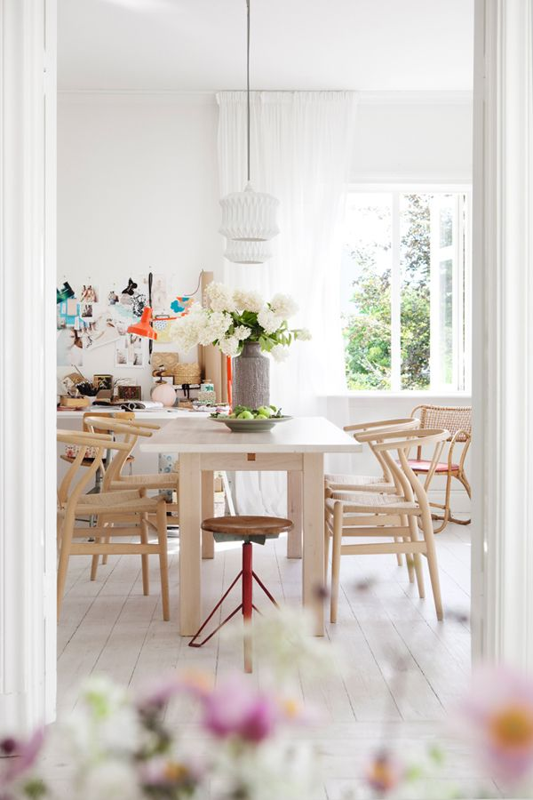 beautiful light dining space