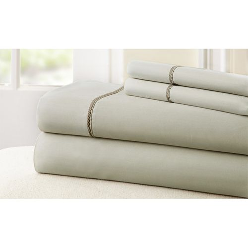 Fine Linens Linen and Mocha Four-Piece 400 Thread Count Full Sheet Set - (In No Image Available)