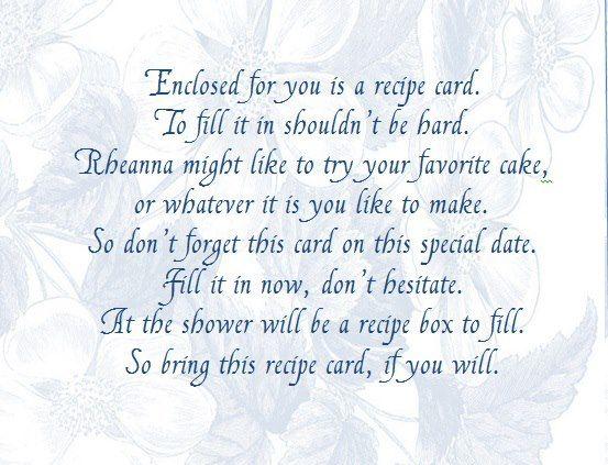 bridal shower recipe card note
