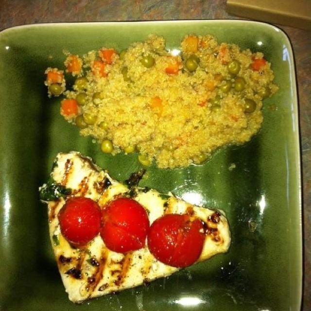 Swordfish. 2 tbsp bottled pesto. 4 swordfish steaks. 1 tbsp olive ...