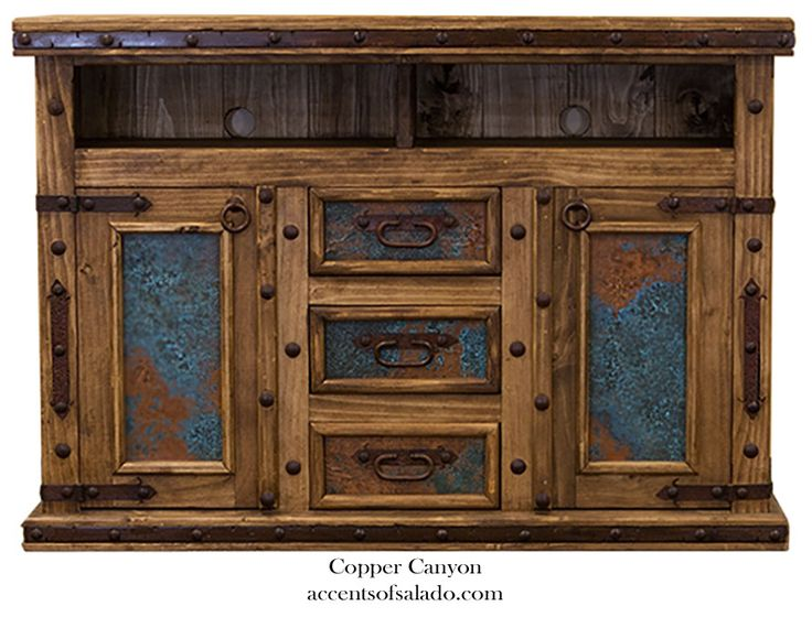 Western Media Cabinet with Turquoise Copper online at Accents of Salado.
