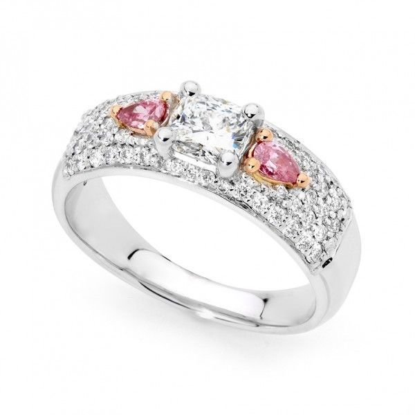 Argyle Pink And White Diamond Ring Solid Gold Diamonds Perth