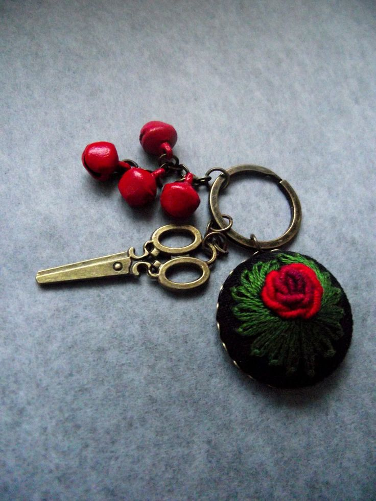 Hand embroidered charm, embroidered keychain, with scissors by ZoZulkaart on Etsy