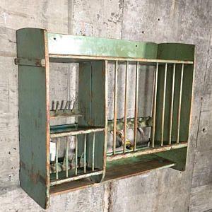 For Renee Vintage Dish Rack Boho Industrial Kitchen Organizer Retail Display Bakers Rack Green