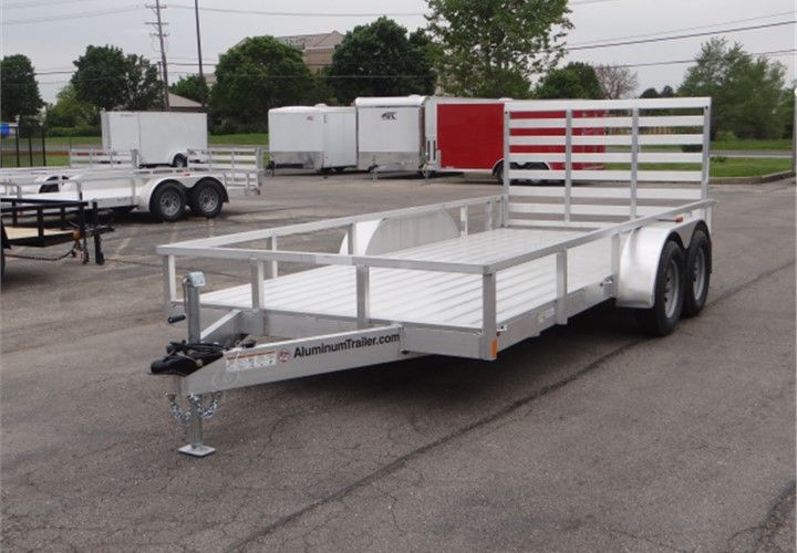 Open Aluminum 7' x 16' Utility Trailer By ATC. This Is an Outstanding All Aluminum Utility Trailer with a Removable Rear Ramp. $4,295 Any applicable fees and taxes are extra. Ref # E203284 | Advantage Trailers and Hitches