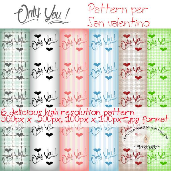 Pattern ONLY YOU dedicati a San Valentino http://graficscribbles.blogspot.it/2016/02/pattern-only-you-san-valentino.html #sanvalentino #pattern #texture