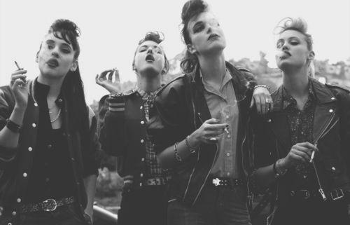 leather jackets, lipstick, cigarettes