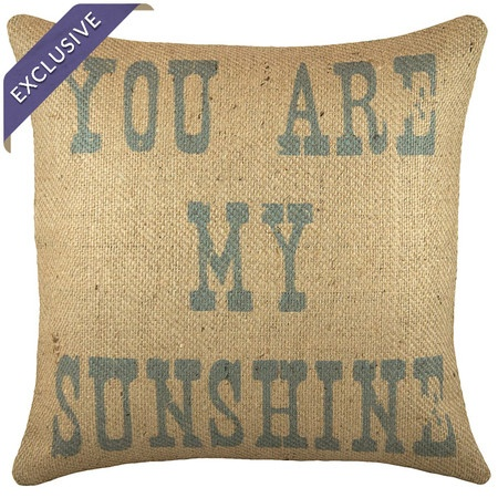 Sunshine Pillow: Sunshine Pillows,  Welcome Mats, Handmade Burlap, Spots Clean, Burlap Pillows, Throw Pillows, Products, 16 Clean, Pillowconstruct Materials