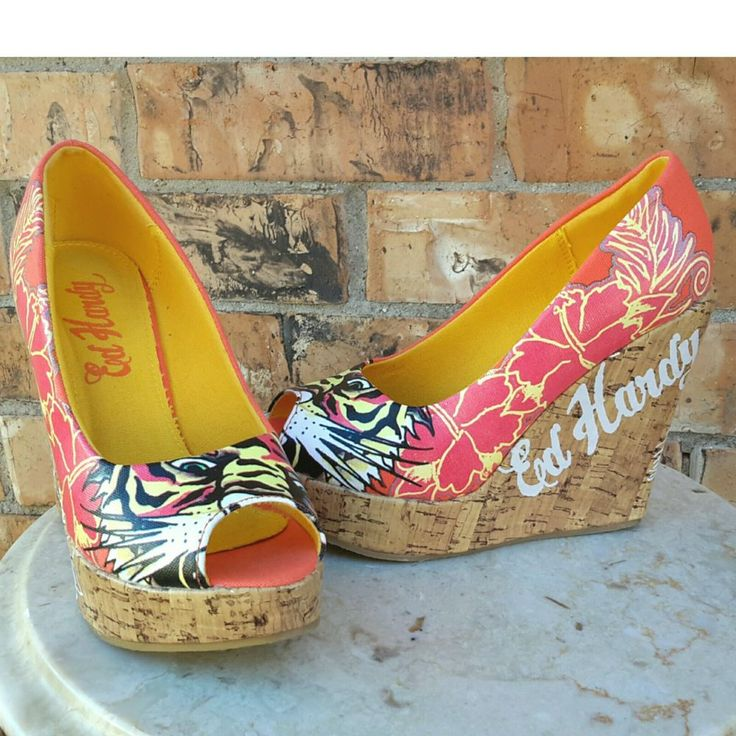 Ed Hardy Designer Open-toe Wedges Pin-up Tiger Rockabilly Shoes Size 5 | Clothing, Shoes & Accessories, Women's Shoes, Heels | eBay!