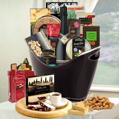 Lavish champagne & gourmet gift basket brimming with gourmet food and champagne - $165