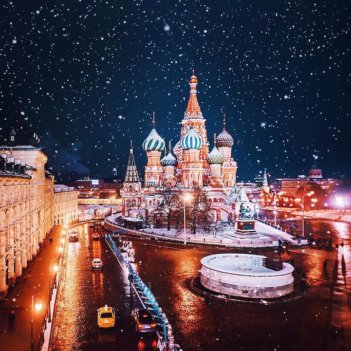 Sparkling City of Moscow Celebrates Orthodox Christmas in a Magical Flurry of Snow and Light