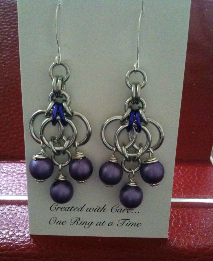 Butterfly chain maille weave for silver aluminum earrings, with a few purple niobium rings and three matte pearl drops -completed 5-18-13 - DONATED FOR A CHARITY AUCTION :)