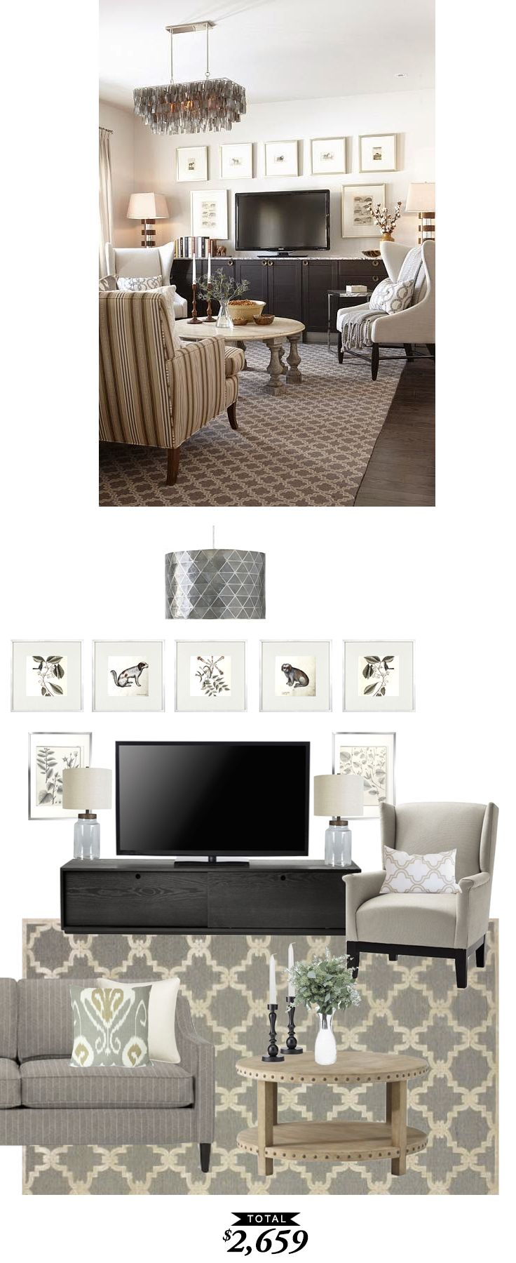 Cozy comfortable and aesthetic family room chairs fitting room app - A Cozy Family Room In Tones Of Gray And Taupe Designed By Sarahrdesign And Recreated