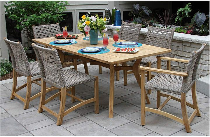 Outdoor Interiors 7pc Nautical Teak Dining Set With Teak And Wicker Chairs Outdoor Patio Furniture Patio Dining Set Side Chairs Dining Teak Patio Furniture