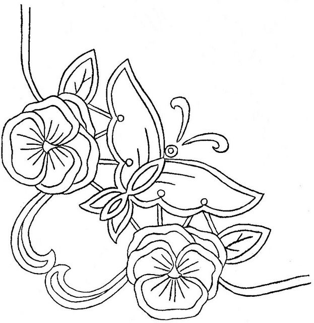 Embroidery pattern. butterfly, flower.