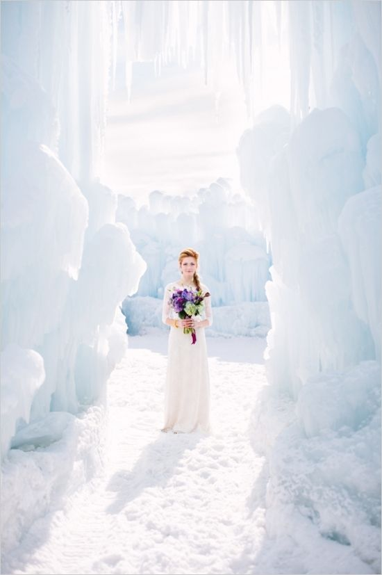 Captured in the incredible ice castles of Midway, Utah this Frozen wedding inspiration will have you wishing for your own ice palace wedding. Enjoy, and try not to break out in song!