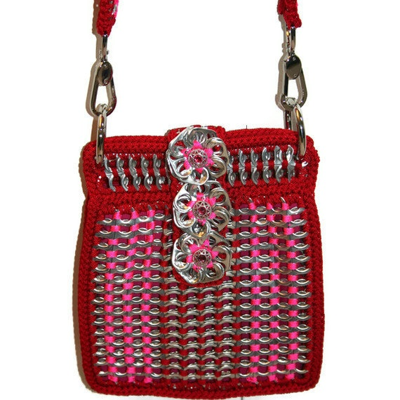 Rita - Pop Tab Cross Body Convertible Purse -Pink and Red. $125.00, via Etsy.